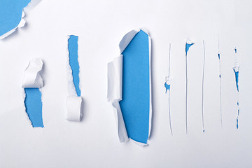 Piece of paper cut in various shapes.