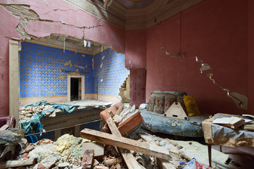 Abandoned castle after earthquake