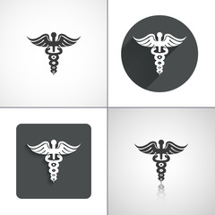 Caduceus icons. Set elements for design. Vector illustration.