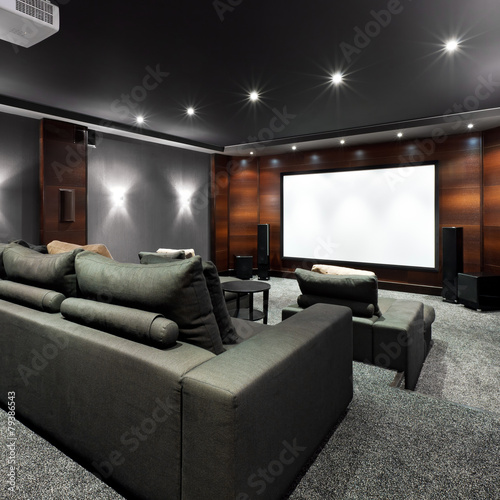 Home theater interior poster