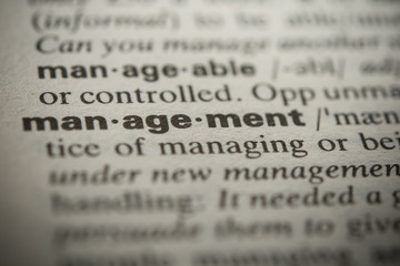 Definition of the word management, close up