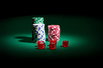 Gambling chips and dices