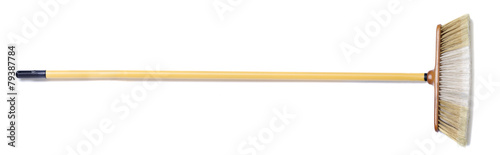canvas print picture Isolated household broom on a white background.