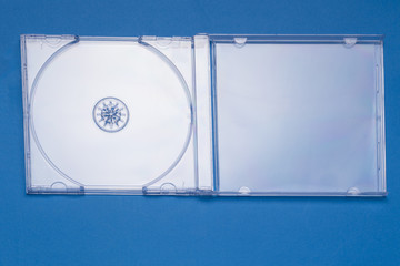 Close view of an empty transparent jewel CD case.