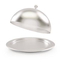 open empty silver tray