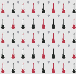 Pattern with guitars on a grey  background