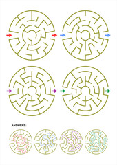 Set of four round maze game templates with answers