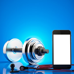 Fitness exercise equipment dumbbell weights on blue background.