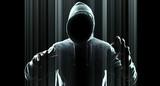 Cybercrime futuristic technology concept poster