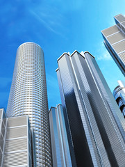 Skyscrapers on blue sky background