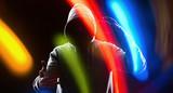 Futuristic male hacker future cybercrime problem poster