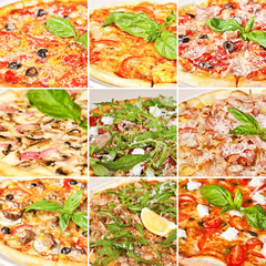 Various pizza collage