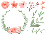 Photo: Set of flowers and leaves vector