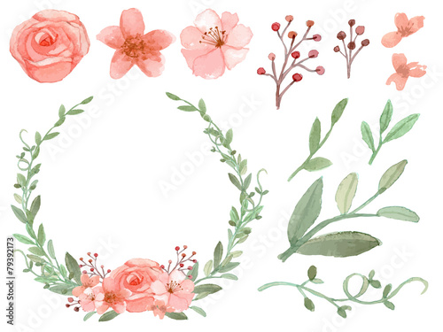 Set of flowers and leaves vector poster