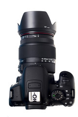 Close up view of a modern dslr photographic camera.