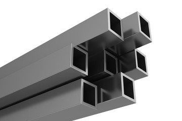 stainless steel profiles on a white background