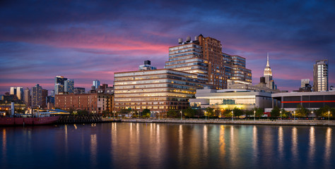 West Chelsea buildings at sunset from Hudson River, New York Cit