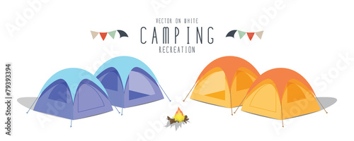 Camping on white background. (Tent) - 79393394