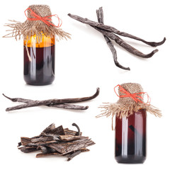 The fragrant vanilla and extract isolated on white background