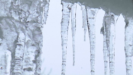 The video shows Icicles hanging from roof