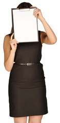 business girl covers face paper holder.