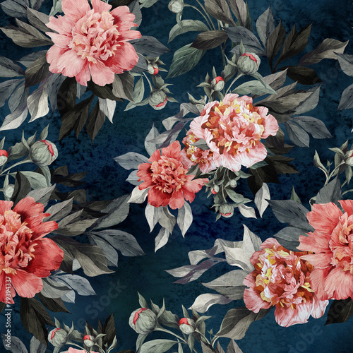 Seamless floral pattern with red and pink roses and peonies - 79394337