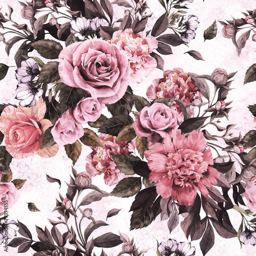Seamless floral pattern with red and pink roses and peonies - 79394555