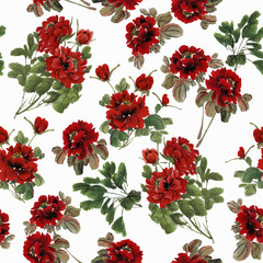 Seamless floral pattern with peonies on white background