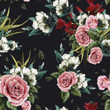 Fototapety Seamless floral pattern with roses and lilies