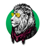 Fototapety Lion in glasses and color scarf with drawing.