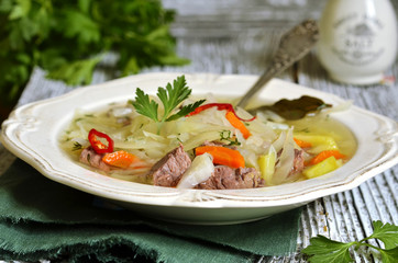 Shchi - traditional russian cabbage soup.