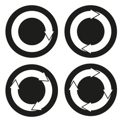 Collection of 4 isolated buttons with rounded arrows