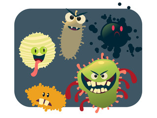 virus and bacteria set vector illustration