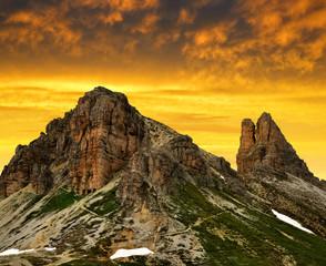 Mountain landscape at sunset - Sexten Dolomites,  Italy