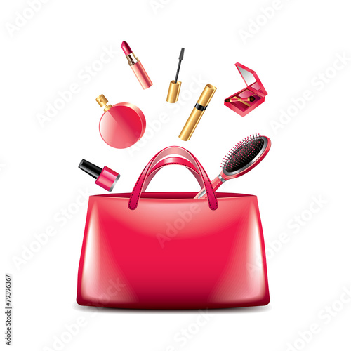 Women bag with cosmetics isolated on white vector - 79396367