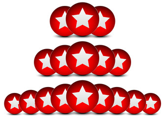 Red stars, star balls, star circles background. Star composition