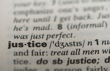 Definition of the word justice, close up