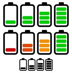 Illustration of battery level indicators. Battery life, accumula