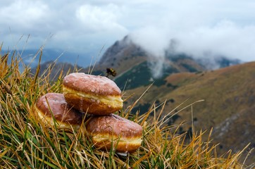 Donuts with mountains in the background.