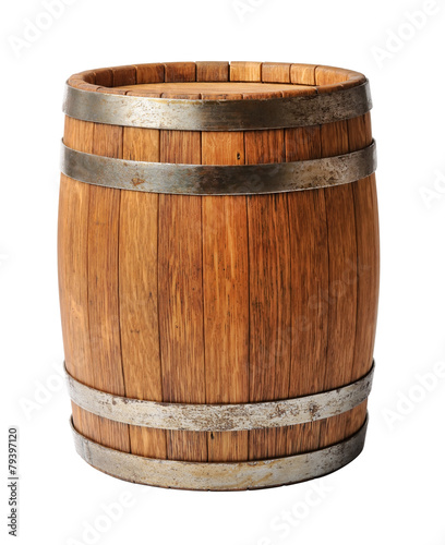 Foto op Plexiglas Alcohol Wooden oak barrel isolated on white background