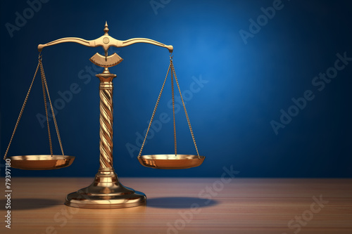 Leinwanddruck Bild Concept of justice. Law scales on blue background.
