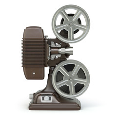 Vintage film movie projector isolated on white.