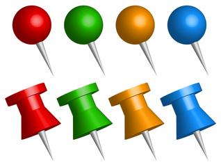 Set of 3d thumbtacks, push pins vector graphics.