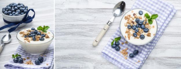 Heidelbeeren mit Joghurt und Müsli