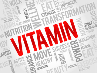 VITAMIN word cloud, fitness, sport, health concept