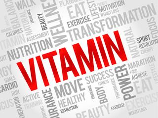VITAMIN word cloud, fitness, sport, health concept