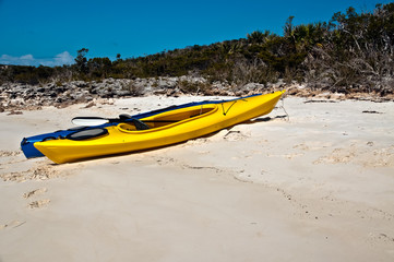 Kayaks on a beach