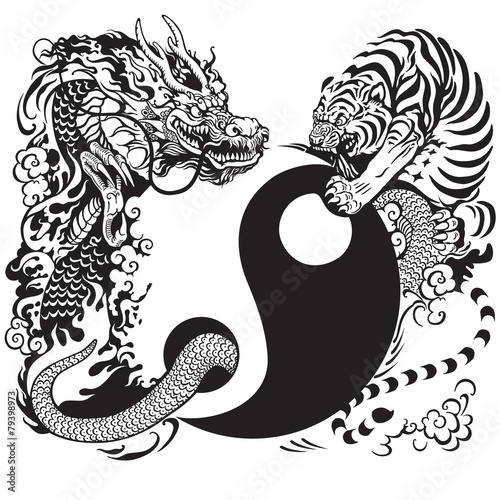 yin yang with dragon and tiger