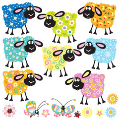 set with decorative sheep