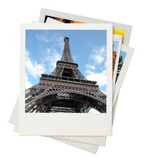 Travel photo collage isolated on white background